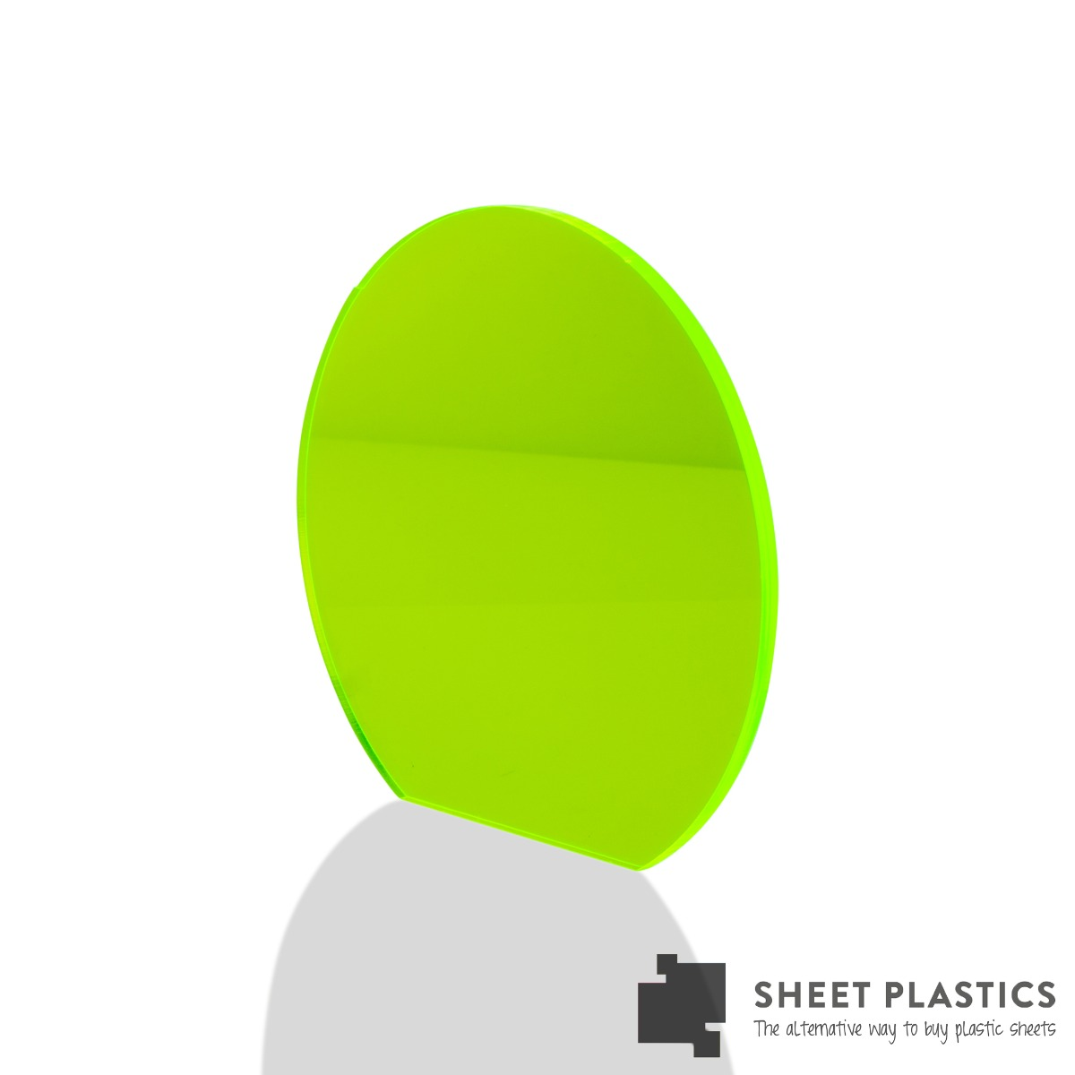 5mm Green Fluorescent Acrylic Disc Bespoke Size -