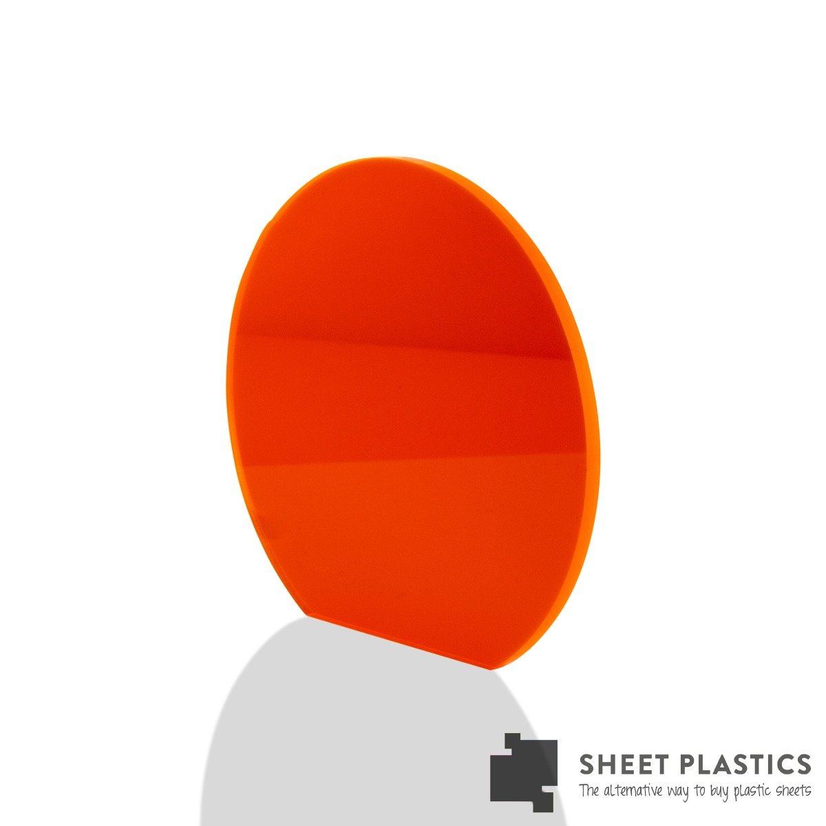 5mm Orange Fluorescent Acrylic Disc Bespoke Size -