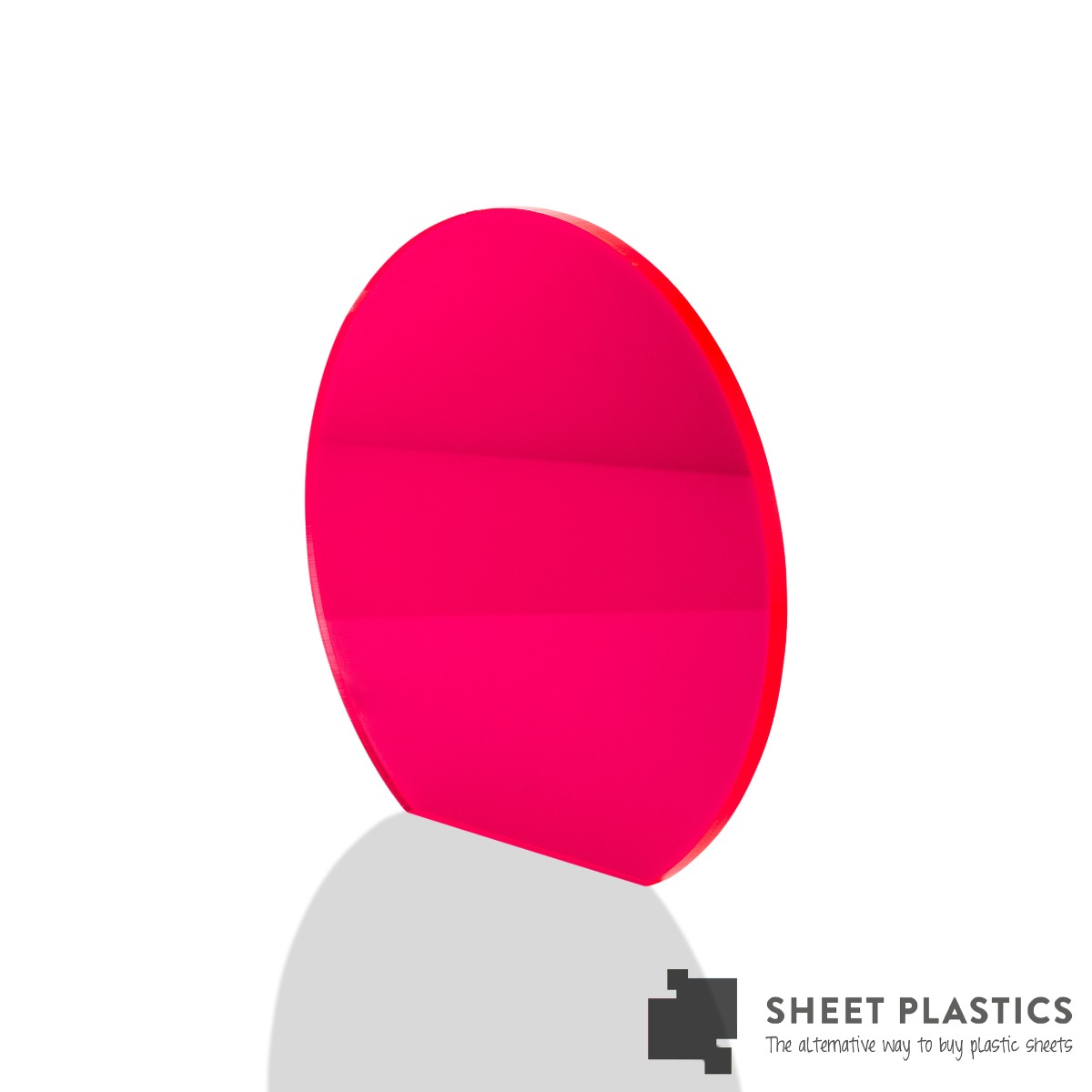 5mm Pink Fluorescent Acrylic Disc Bespoke Size -