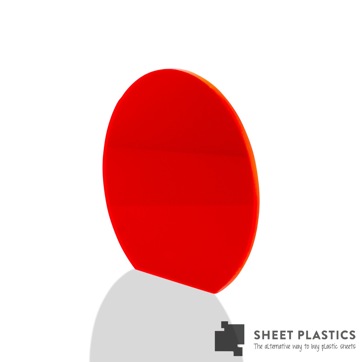 5mm Red Fluorescent Acrylic Disc Bespoke Size -