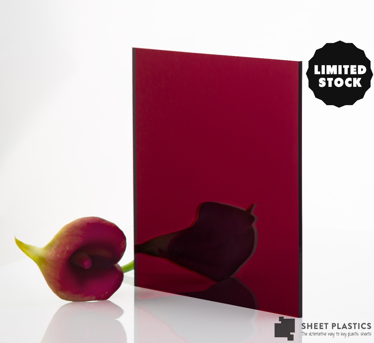 3mm Dark Red Mirror Acrylic 500mm x 500mm