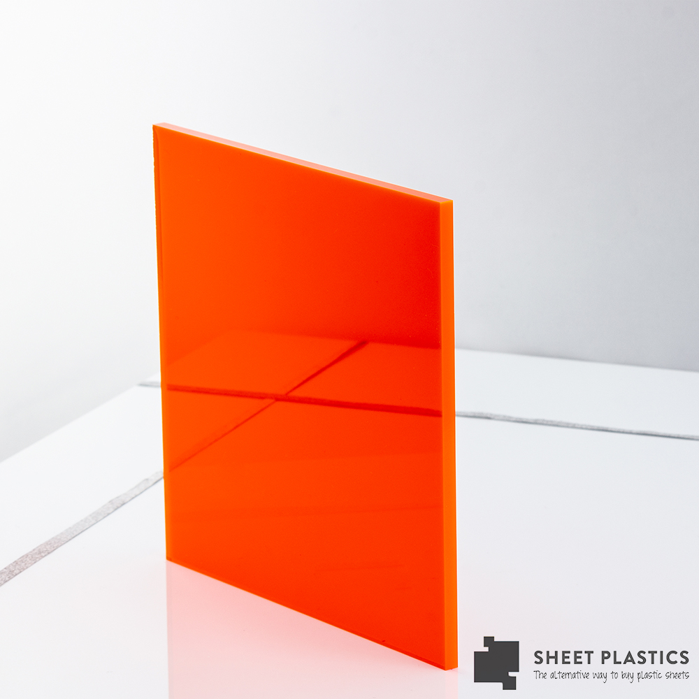 5mm Orange Fluorescent Acrylic Sheet Cut To Size
