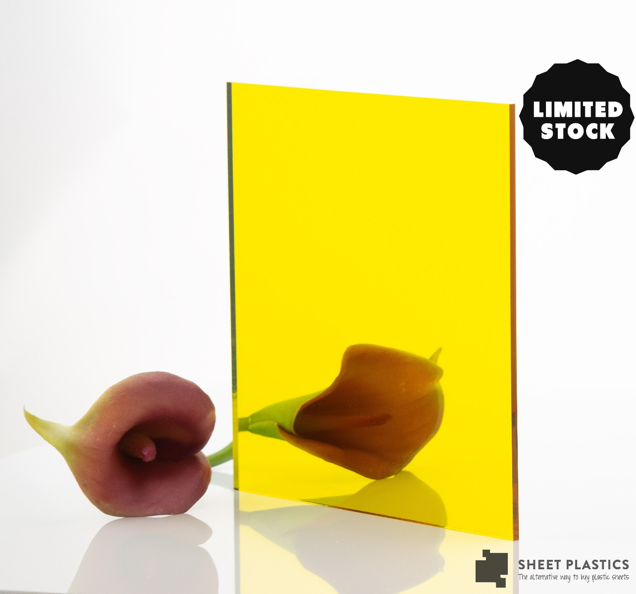 3mm Yellow Mirror Acrylic 500mm x 500mm